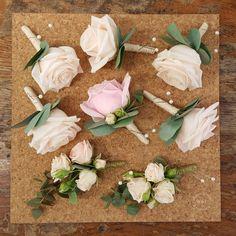 Classic Rose & Eucalyptus Buttonholes & Corsages in Pale Pink & Cream www.weddingandevents.co.uk