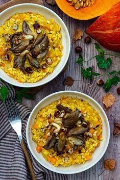 Risotto au potimarron, pleurotes et noisettes grillées - Amandine Cooking