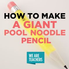 Pool noodle pencils are incredibly easy to make. They just might be the perfect addition to your classroom door or bulletin board display. Check 'em out! Classroom Board, School Bulletin Boards, Classroom Design, Future Classroom, Classroom Organization, Classroom Management, Kindergarten Classroom, Classroom Decoration Ideas, Year 4 Classroom