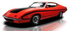 1970 Ford King Cobra - The aero car that never went into production, only 3 built after Nascar changed their rules. Too bad this would have been the ultimate street Torino.  Graphics are Shinoda inspired similar to the famous Boss 302 layout. Power was a 429 Boss Semi Hemi.