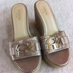 26589344005d6 Coach Wedge sandals Coach sandals with logo gold embellishment. Beautiful  leather burnished gold top is