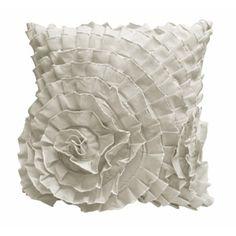 "Ruffle 16"" Square Decorative Pillow, Ivory"