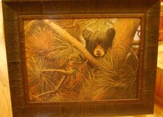 """Baby Bear in Pines. Approximate Size with Frame: 16.5"""" x 20.5"""" Available at Cabin Creations in Phillips, WI. www.cabincreationswi.com"""