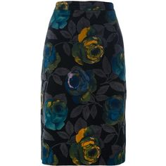 Emanuel Ungaro Vintage floral skirt ($221) found on Polyvore featuring women's fashion, skirts, blue, high rise skirts, emanuel ungaro skirt, vintage skirts, blue skirt and multicolor skirt