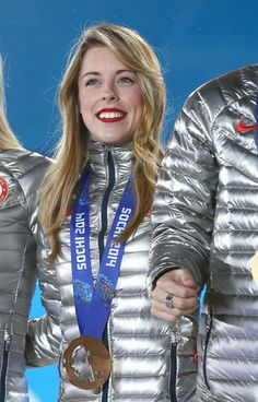 Bronze medalist Ashley Wagner of the United States during the medal ceremony for the Team Figure Skating Overall on day 3 of the Sochi 2014 Winter Olympics in Sochi, Russia.