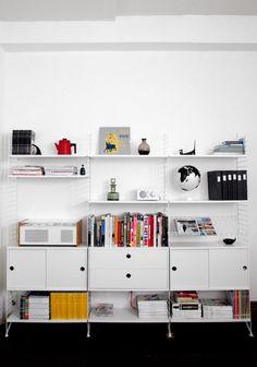 wall o' shelves Office Workspace, Office Decor, Home Office, Office Organisation, Office Storage, Interior Exterior, Interior Design, String Regal, String Shelf