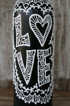 Painted Wine Bottle, Love, Black and White, Wedding centerpiece, Pretty Vase