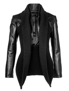 leather and knit jacket from Line, a Canadian designer. Winter Outfits, Casual Outfits, Cute Outfits, Blazer Fashion, Fashion Outfits, Womens Fashion, Coats For Women, Jackets For Women, Clothes For Women