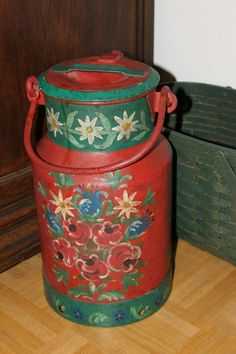 PAINTED MILK CAN, found at flohmarkt in Wiesbaden, Germany. Painted Milk Cans, Old Milk Cans, Milk Churn, Painted Stools, Boat Art, Tin Containers, Tole Painting, Yard Art, Painting Inspiration