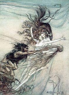The Rhine maidens make fun of Alberich by Arthur Rackham
