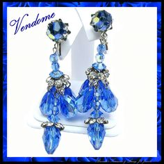 VENDOME's CHANDELIER Cobalt Blue Crystals & Rhinestone Earrings circa 1950's