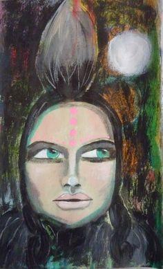 mohawk Portrait of a woman, Acrylic painting, Mixed Media Art, Benedicte 2015