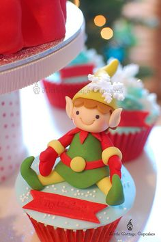 little cottage cupcakes - christmas - christmas cupcake - elf cupcake
