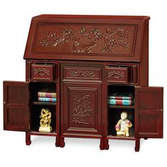Rosewood Flower and Bird Secretaire