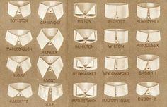 1930s(?) fashion accessories: Shirt collar styles. Take note, modern men!
