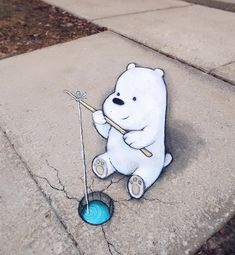 David Zinn uses just chalk and charcoal to create temporary street art that will have you rethinking the objects you see in your everyday life. 3d Street Art, Street Art Graffiti, Street Artists, Graffiti Artists, David Zinn, We Bare Bears Human, Sidewalk Chalk Art, We Bear, Bear Wallpaper
