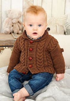 """Knitting Pattern for Cabled Baby Cardigan -#ad Love the """"little man"""" look of this classic cardigan with shawl collar and cables. One of 33 patterns in Baby Book 7 by King Cole. More pics at Deramore's tba"""