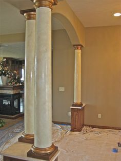 """""""Naked Columns & Italian Venetian Plaster"""" – Columns are hard to walk by without gliding your hands on them, cool to the touch, just like real marble. This is what I am doing to my columns in my open new open floor plan! House Pillars, Cornice Design, Hotel Floor Plan, Pillar Design, Classic House Exterior, Polished Plaster, Sioux, Marble Columns, Column Design"""