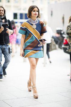 Miroslova Duma street style during fashion week #graphic #look #arty