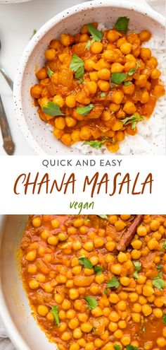 A quick and easy authentic chana masala recipe that's naturally vegan but loaded with flavor. Comes together in about 20 minutes. Curry Recipes, Vegetarian Recipes, Cooking Recipes, Healthy Recipes, Vegan Vegetarian, Vegan Curry, Vegan Chickpea Recipes, Cheap Recipes, Whole30 Recipes