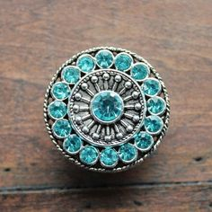 Round Silver Knob with Aqua Crystals