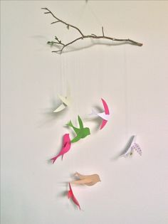 mobile of birds to the children's room