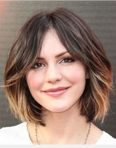 Short Bob Haircut for Mid-length Ombre Hair. Here's a perfect combination of Bob haircut and the ombre technique. It created an-ultra chic look with its modest center parting. The gently curled waves enhanced the very feminine sense for this young lady. moreover, they also shaped a soft line for the final effect.