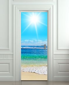 Door STICKER beach scene sea ocean decole poster · Pulaton · Online Store Powered by Storenvy Wall Stickers Ocean, Door Stickers, Wall Stickers Murals, Beach Mural, Beach Posters, Peel And Stick Vinyl, Door Murals, Sea And Ocean, Ocean Beach