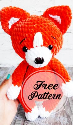 Free and Awesome Red Fox Amigurumi Crochet Pattern , amigurumi patterns free; amigurumi for beginners; Crochet Fox Pattern Free, Crochet Motifs, Crochet Amigurumi Free Patterns, Crochet Animal Patterns, Stuffed Animal Patterns, Crochet Dolls, Free Crochet, Crochet Animals, Amigurumi Minta