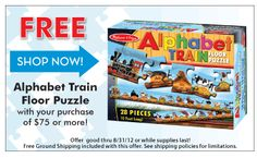 Spreading the news to our Pinterest friends...for a limited time orders of seventy-five dollars or more will receive a free puzzle on MelissaAndDoug.com!
