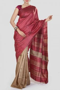 Turkish Rose & Ecru Tussar Silk Saree