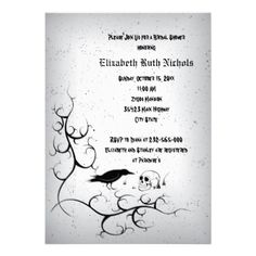 Raven and skull Gothic wedding bridal shower Personalized Invitation from Zazzle.com