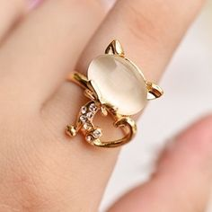 Gold and Moonstone Cat Ring