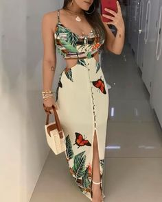 2019 Summer Women Elegant Long Casual Party Dress Female Maxi Dress Ladies V-Neck Spaghetti Strap Tropical Print Cutout Dress Maxi Dress With Slit, The Dress, Bodycon Dress, Trend Fashion, Womens Fashion, Fashion Blogs, Style Fashion, Fashion Weeks, Fall Fashion