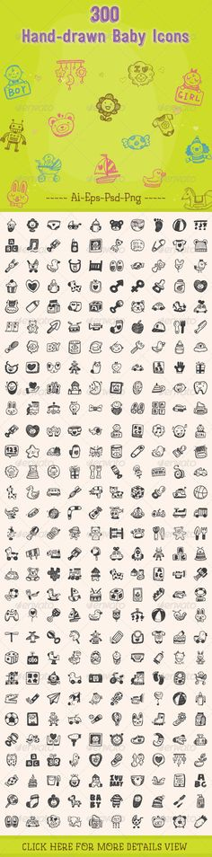 300+Hand+Drawn+Baby+Icons