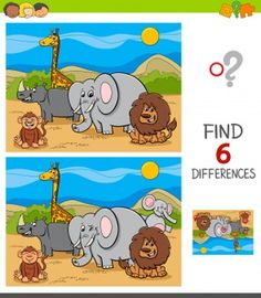 Spot The Difference Kids, Find The Difference Pictures, Educational Games For Kids, Craft Activities For Kids, Safari Animals, Animals For Kids, Wild Animal Games, Hidden Pictures Printables, Turtle Coloring Pages
