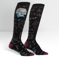 Sock It to Me Relatively Cool Knee High Socks Derby Stylish Smart Einstein for sale online Crazy Socks, Cool Socks, Buy Socks, Women's Socks, Knee High Socks, Fashion Brands, Geek Fashion, Fit Women, Ideias Fashion