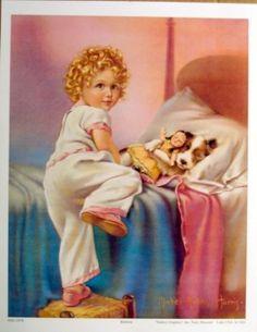 Bedtime by Mabel Rollins Harris (Art Print of Vintage Art) Vintage Illustration Art, Vintage Art Prints, Vintage Artwork, Vintage Dog, Vintage Children, Vintage Images, Etiquette Vintage, Beautiful Paintings, Vintage Postcards