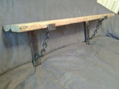 Solid Rustic Pine Shelf with Unique Steel and Chain Vintage ...