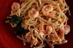 Shrimp and Feta Linguine