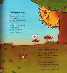 Versje 'Eekhoorntje roetsj' en 'In het mooie herfstbos' uit het versjesboek…