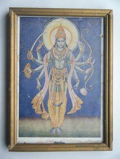 Rare Lord Maha Vishnu Hindu God Old Art Print in Old Wooden Frame India #2291