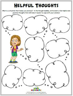 What is a situation that makes you anxious? In the thought bubbles, write down a few helpful and positive thoughts that will make it easier to cope with your anxiety! Cbt Worksheets, Therapy Worksheets, Counseling Activities, Therapy Activities, Cbt Therapy, Counseling Worksheets, Kids Therapy, Personal Development, Play Therapy