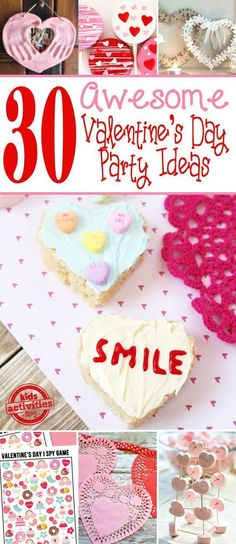 30 Awesome Valentine's Day Party Ideas For Kids! 30 Awesome Valentine's Day Party Ideas For Kids! My Funny Valentine, Kinder Valentines, Fun Valentines Day Ideas, Easy Valentine Crafts, Valentines Day Activities, Valentines Day Treats, Valentines Day Decorations, Valentine Party, Valentine Sensory