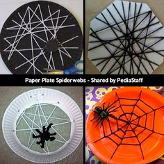 """Paper Plate Spider Webs are a fun fine motor craft this time of year!  Here are four different designs that we found on the web (no pun intended). Use foam core instead of a paper plate for extra stability. Add punch holes for an extra lacing challenge. Weave concentric circles for extra yarn work and a more """"realistic"""" final product.  For more hand strengthening go over yarn with glitter glue (not pictured) #pediOT #occupationaltherapy #finemotor. #Padgram"""