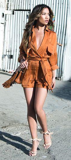 Saboluxe Drape Playsuit in Camel Tony Bianco Kiely Heels Chloe Hudson Fringe Bag