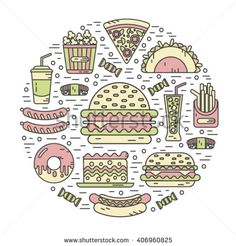 Vector Modern Line Style Color Icons Stock Vector (Royalty Free) 406960825 Burger Images, Sushi Donuts, Pizza Cake, French Fries, Junk Food, Popcorn, Lamb, Hamburger, Soda