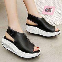 61a9990673bb Black Magic Tape Microfiber Leather Wedge Heel Sandal - JustFashionNow.com