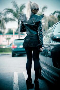 #kerli #blonde #black #leather #wings #adidasoriginals