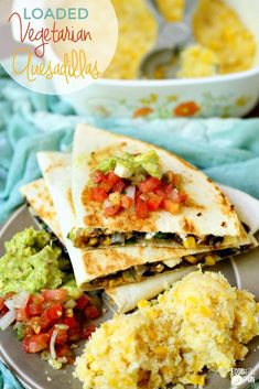 This Vegetarian Quesadilla recipe is LOADED with goat cheese, cheddar, corn, black beans, and poblano peppers. It's a quick and easy recipe, and great for lunch or busy weeknight dinners!